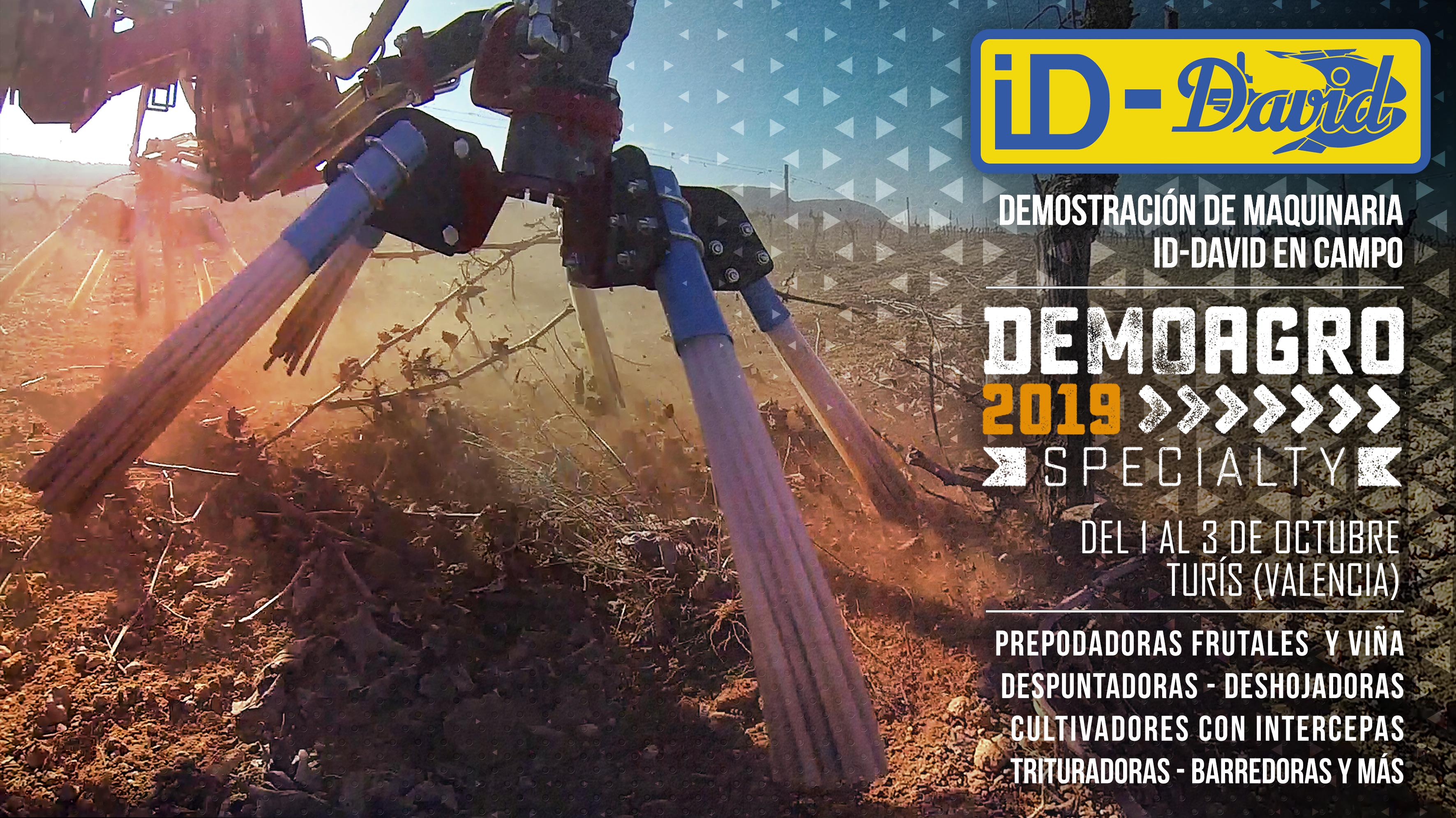 Demostración de maquinaria ID-David en campo en Demoagro Speciality 2019